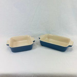 LE CREUSET Set Of 2 Small Blue Casserole Dishes